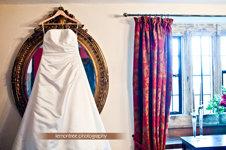 Photograph of Ruth's beautiful wedding dress by Hampshire Wedding Photographer