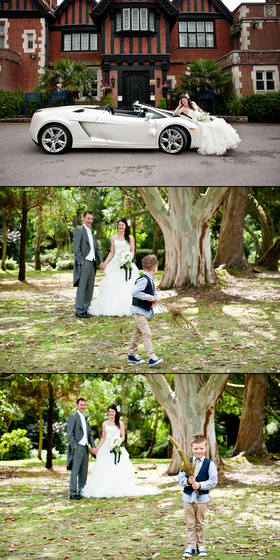 sports car at hampshire wedding