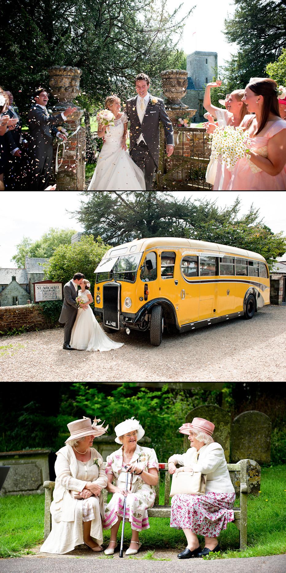 Vintage Bus at Dorset wedding