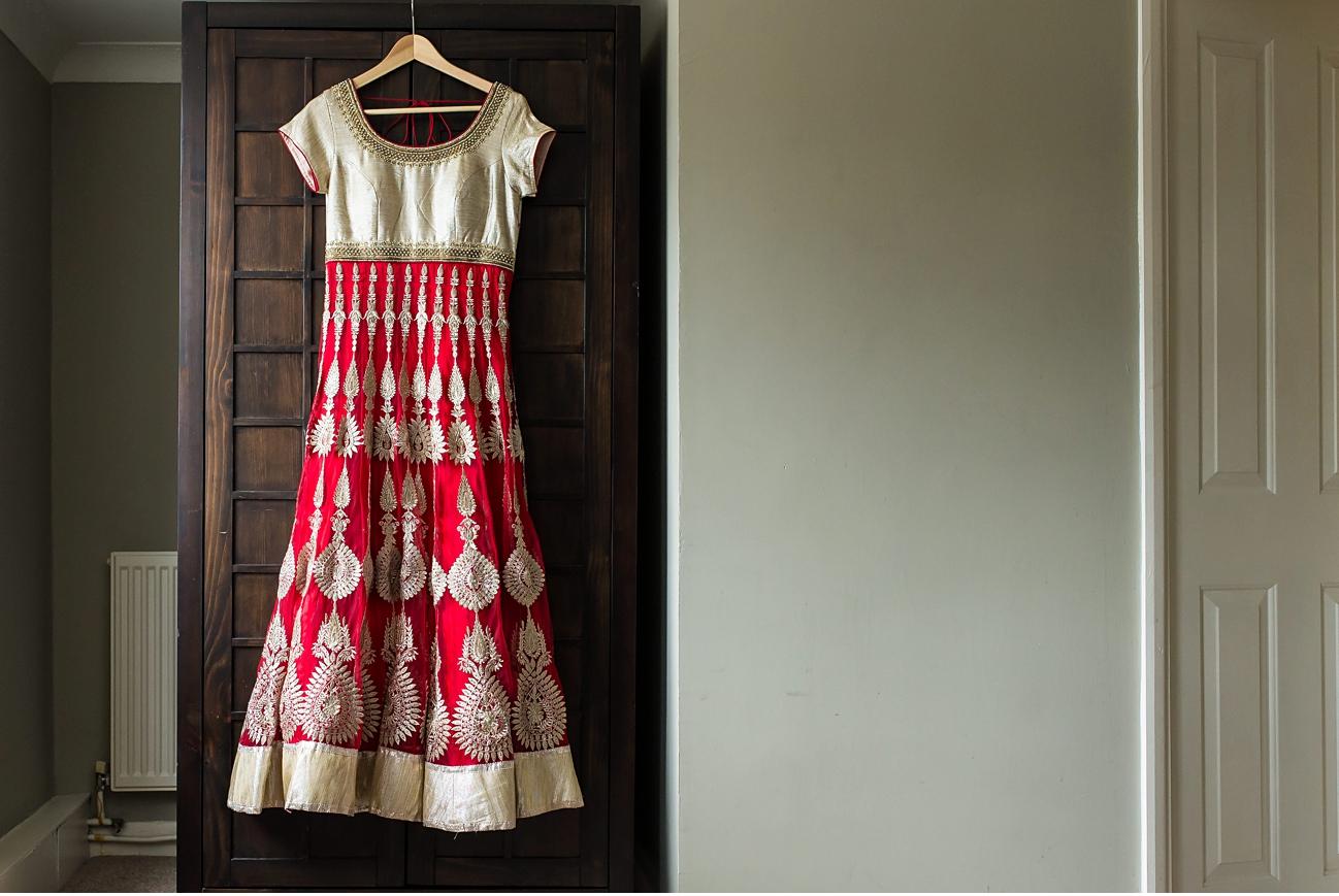 bangladeshi wedding dress on hanger